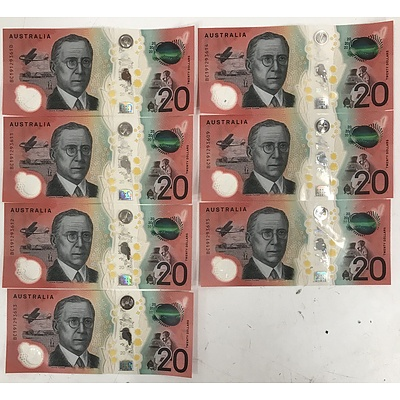 Australian $20 Notes - Consecutively Numbered - Lot of 7