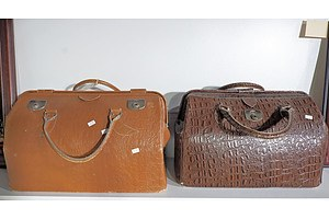 Two Old Leather Gladstone Bags