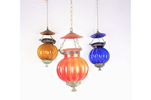 Three Middle Eastern Lobed Glass and Brass Mounted Lanterns (3)