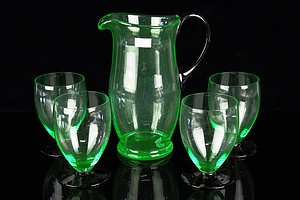 Vintage Uranium Glass Water Jug with Four Matching Glasses