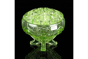 Art Deco Uranium Glass Pedestal Vase with Frog