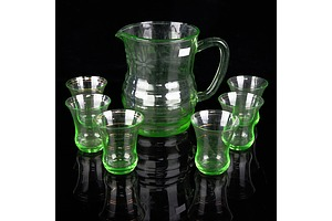 Art Deco Uranium Glass Water Jug with Etched Floral Motif and a Set of Six Glasses