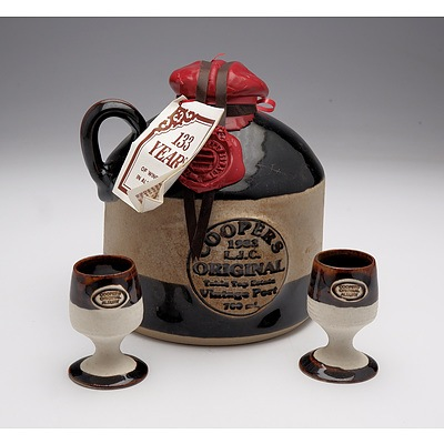 Coopers 1983 L.J.C. Original Vintage Port in Stoneware Decanter with Two Matching Goblets and Timber Presentation Case