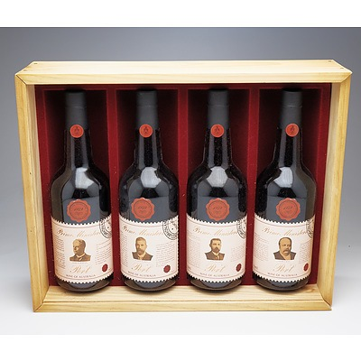 Boxed Four Bottle Set of Wyndham Estate Prime Ministers Port - Barton, Deakin, Watson, Reid