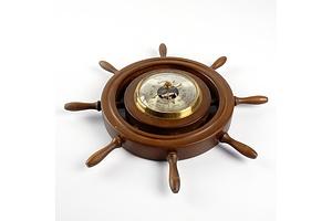 Vintage Huger Ships Wheel Barometer