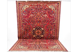 Large Vintage Persian Lilian Hand Knotted Wool Pile Carpet