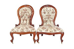 Pair of Victorian Mahogany Grandmother Chairs with Classical Style Upholstery