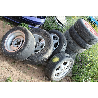 15 and 16 Inch Wheels and Tyres - Lot of Nine