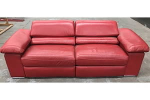 Reclining Two Seat Leather Lounge