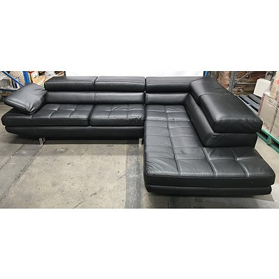 Black Nic Scali Bonded Leather Corner Lounge With Chaise