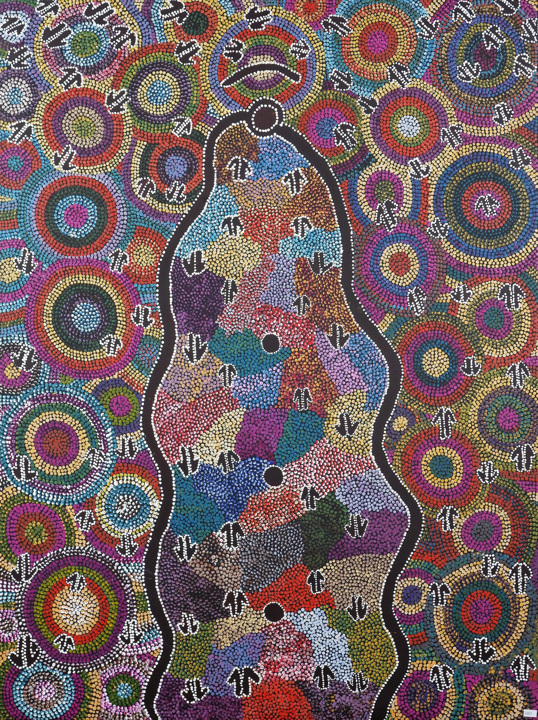 'Rachael Jurra Napaltjarri (born 1961, Warlpiri language group), Malu Dreaming 1994, Acrylic on Canvas'
