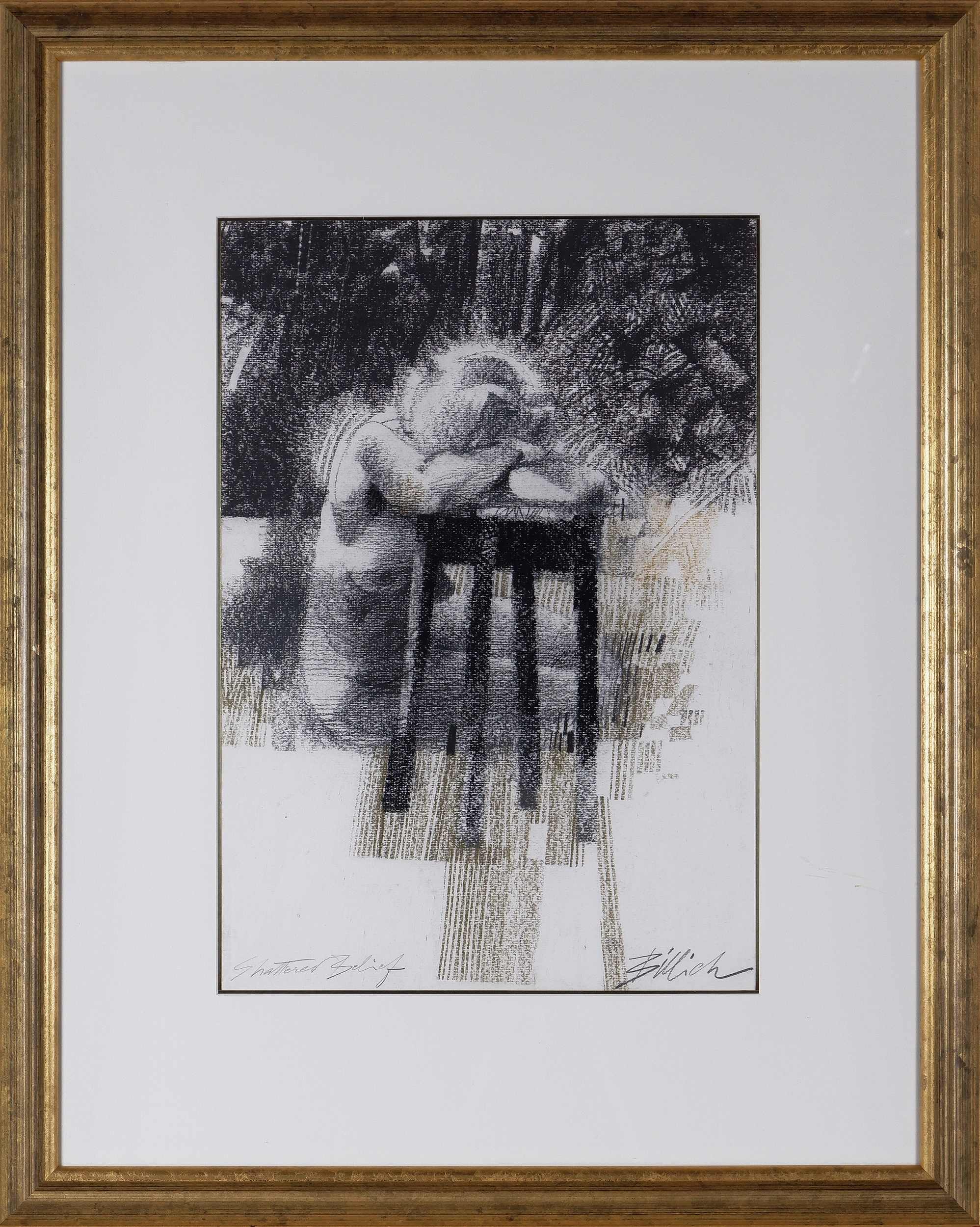 'Charles Billich (born 1934), Shattered Belief, Charcoal on Paper'