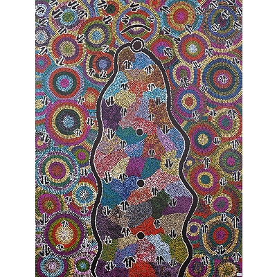 Rachael Jurra Napaltjarri (born 1961, Warlpiri language group), Malu Dreaming 1994, Acrylic on Canvas