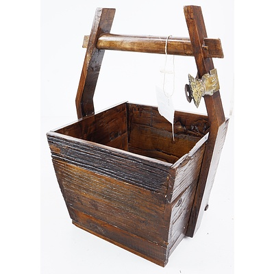 Antique Style Chinese Elm Wooden Carry Basket and an Antique Style Card Holder