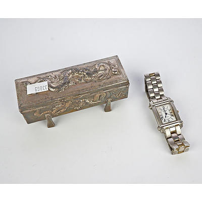 Japanese Silver Plated Cast Metal Trinket Box and Tank Watch Marked Cartier Paris