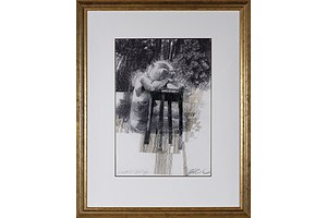 Charles Billich (born 1934), Shattered Belief, Charcoal on Paper