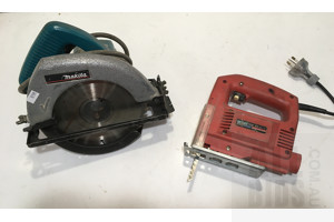 Makita 180mm Corded Circular Saw And Ozito Variable Speed Jig Saw