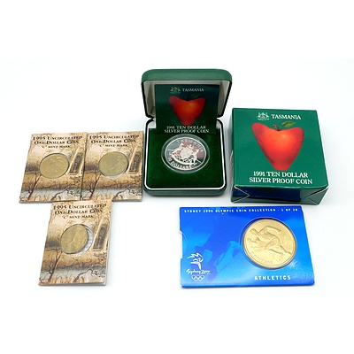 1991 $10 Silver Proof Coin, Three 1995 Uncirculated $1 Coins and Sydney 2000 Olympics $5 Athletics Medallion