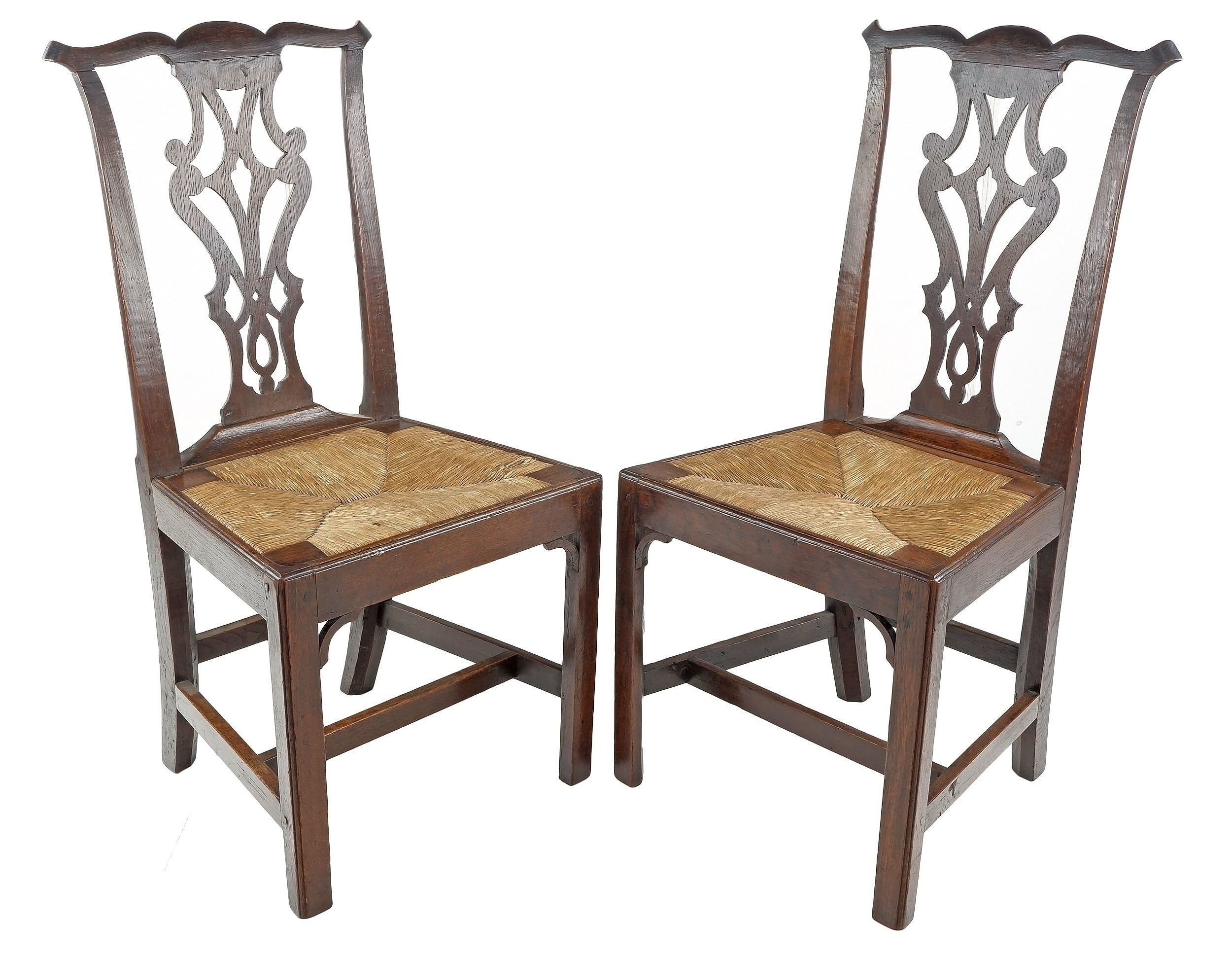 'Pair of Georgian Country Oak Dining Chairs with Drop-in Rush Seats, 19th Century'