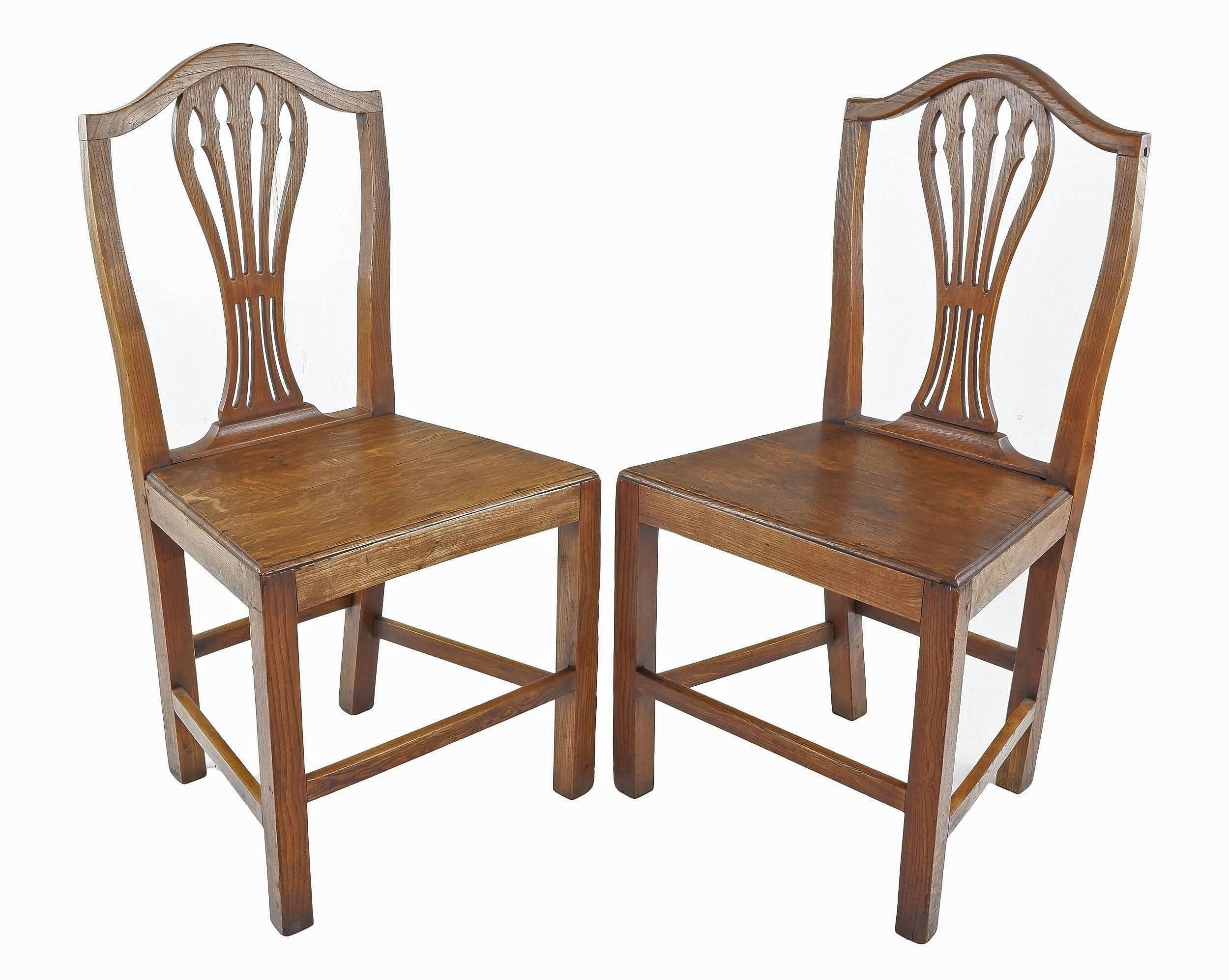 'Pair Georgian Country English Elm Chairs, Circa 1800'