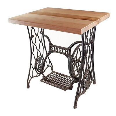 Antique Singer Sewing Machine Base Converted to a Table with Solid Victorian Ash Top