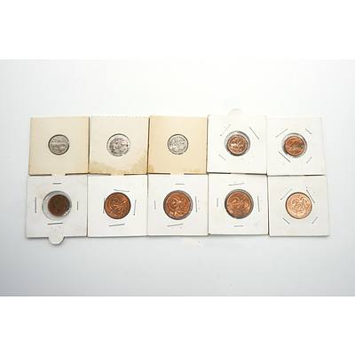 Ten Various Carded 1c, 2c and Three Pence Coins