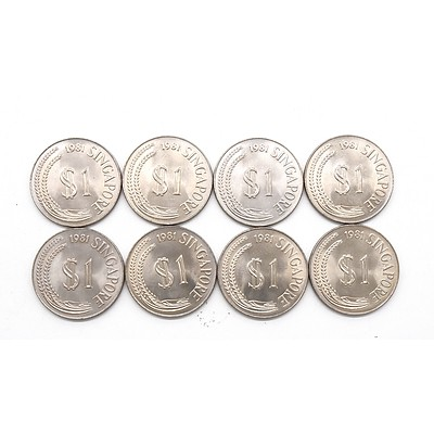 Eight 1981 Singapore One Dollar Coins