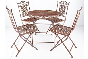 Vintage French Style Wrought Iron Patio Setting - Circular Table and Four Chairs - All Folding