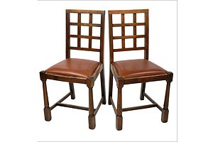 Pair of Oak Framed Hatched Back Dining Chairs with Newly Upholstered Leather Seats - Early 20th Century