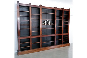 Massive George IV Mahogany Library Open Bookcase of Architectural Form Circa 1830