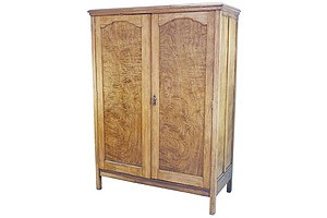 Antique Two Door Wardrobe in White Cedar with Fitted Interior