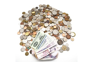 Large Collection of Assorted World Coins and Banknotes