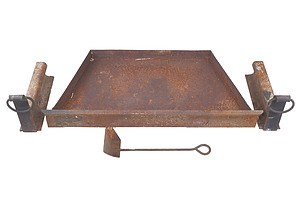 Antique Iron Fireplace Tray with Two Fire Dogs Hand Crafted From Railway Line and Ash Shovel