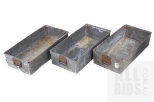 Three Vintage Industrial Metal Storage Hoppers (3)