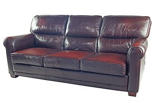 Classic Moran Benson Burgundy Leather Three Seater Club Lounge (1st of a Pair)