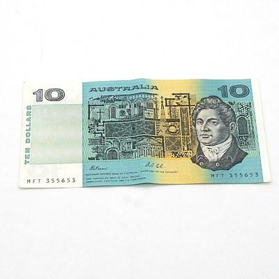 Australian Fraser/ Cole $10 Note, MFT355653