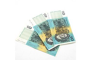 Three Australian Fraser/ Higgins $10 Notes, MGA, MBJ and MBN