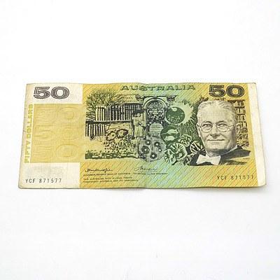 Australian Knight/ Wheeler $50 Note, YCF871577