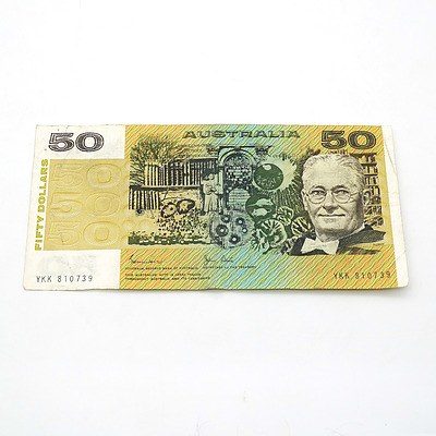 Australian Johnston/ Stone $50 Note, YKK810739