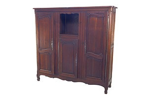 Antique French Three Door Wardrobe in Solid Fruitwood