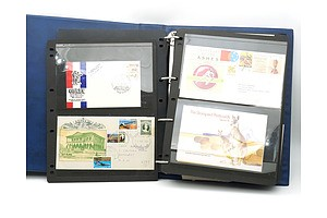 Collection of Australian and International First Day Covers in Hagner Album, Including 1982 Ashes