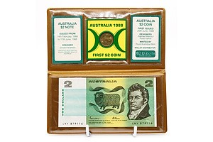 Australian Last $2 Note and First $2 Coin in Folder
