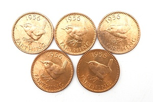 Five 1956 (Last Year of Production) UK Farthings, Ex Royal Mint Bag