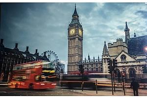 London Scene Big Ben Bus Print 120cm x 80cm - RRP $179.00 - Brand New