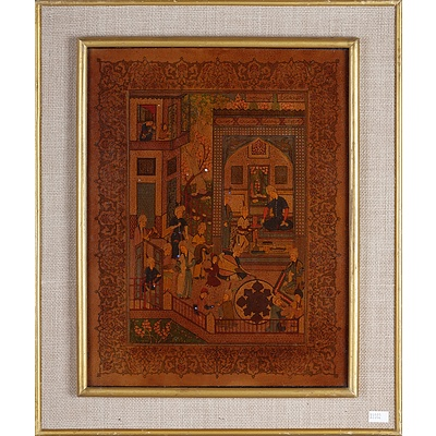Pair of Indo-Persian Miniature Paintings with Inscriptions, Gouache and Ink on Paper
