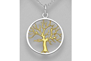 Sterling Silver Tree Of Life Pendant With 18ct Gold Plated Centre