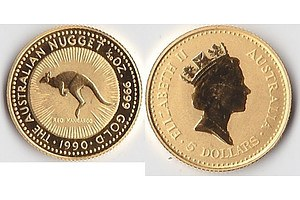 Australia: Perth Mint 99.99% Pure Gold $5 1990