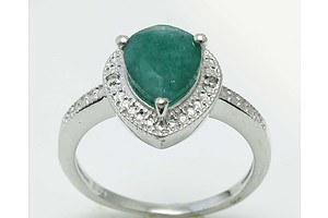 Sterling Silver Ring Set With Emerald, Enhanced and 2 Diamonds