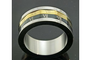 Stainless Steel Ring With Rotating Roman Numeral Centres