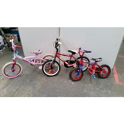 Lot Of Three Children's Bikes